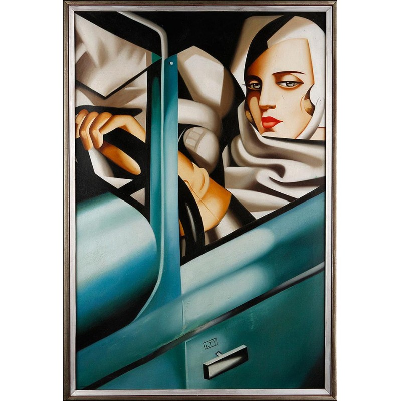 'Autorretrato en Bugatti Verde'. Seguidor de Tamara de Lempicka. Siglo XX