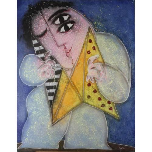 Ripollés (1932 - ). Pintura Original de Juan Ripollés.Noño Tocando el Acordeón. 89 x 116 cms