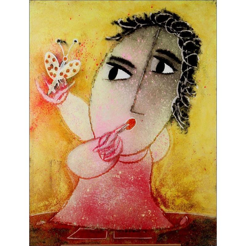 Ripollés (1932 - ) Pintura Original de Juan Ripollés. Niña con Mariposa. 116 x 89 cms