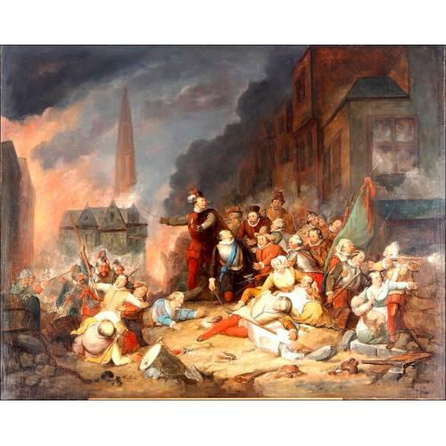 """La Furia Española"". Cuadro al Óleo Pintado por Aimé Pez. Bélgica, 1830"