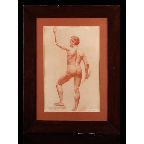 Espléndido Desnudo Masculino Dibujado a Sanguina. Escuela del Siglo XIX.
