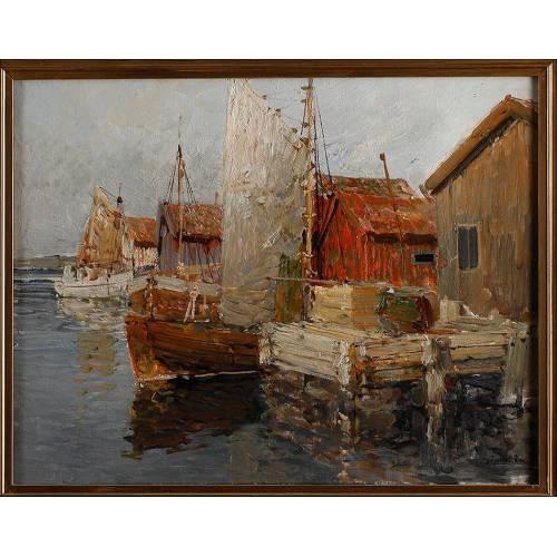 Pintura al Óleo de Hugo Öfverström. Suecia, Siglo XX. Temática Marina, de Estilo Impresionista