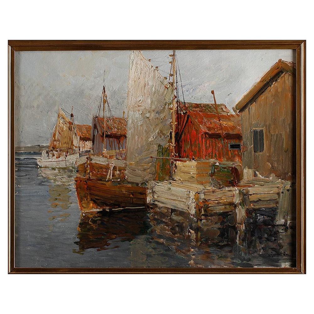 Pintura al Óleo de Hugo Öfverström. Suecia, Siglo XX. Temática ...