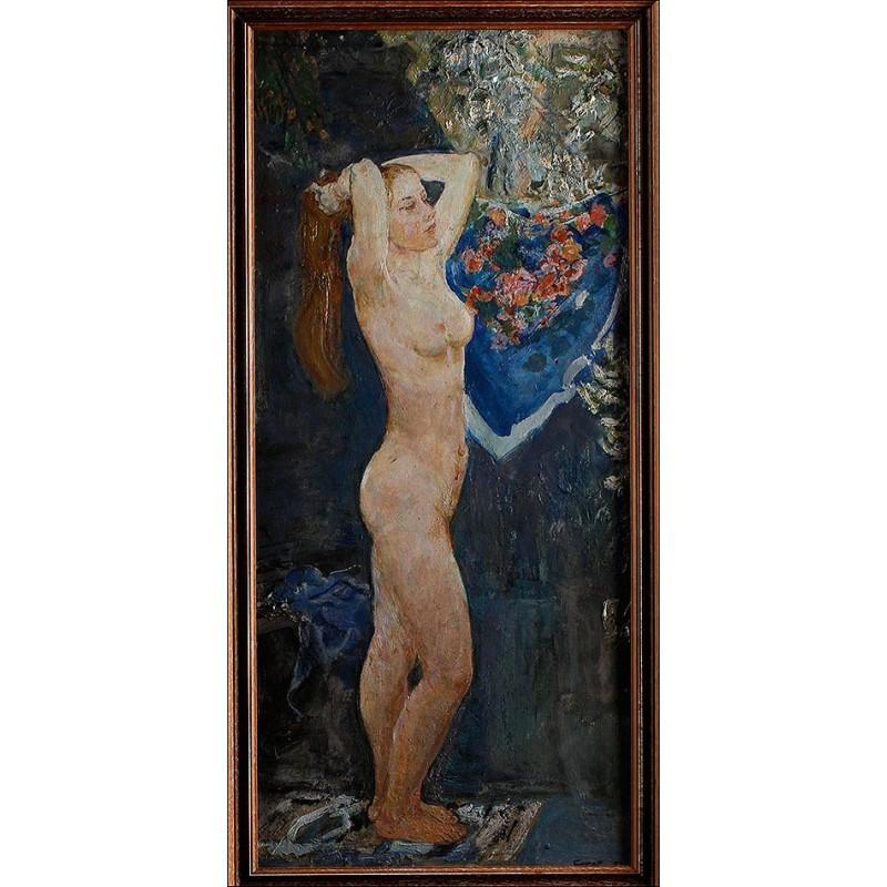 Desnudo Impresionista Original de Vladimir Bourov. Escuela Rusa, Siglo XX. Gran Belleza