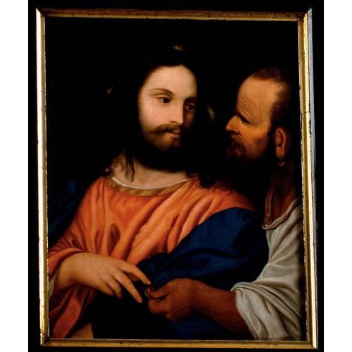 """Tiziano. """"Pago del Tributo"""". Pintura al Óleo Original del Siglo XVIII. Seguidor de Tiziano"""