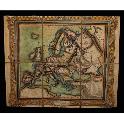 Antiguo Mapa de Europa Plegable Impreso sobre Tela. Francia, 1766