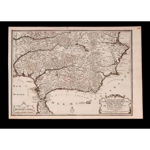 Detallado Mapa del Sur de España realizado por P. Starckman. Francia, 1705