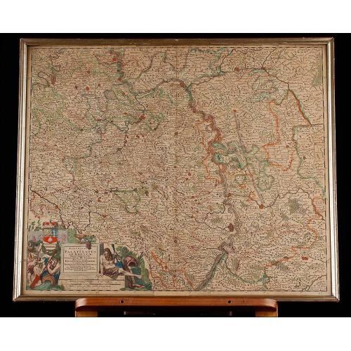 Magnífico Mapa del Episcopado del Rin Realizado por J. Danckerts. Amsterdam, Siglo XVII