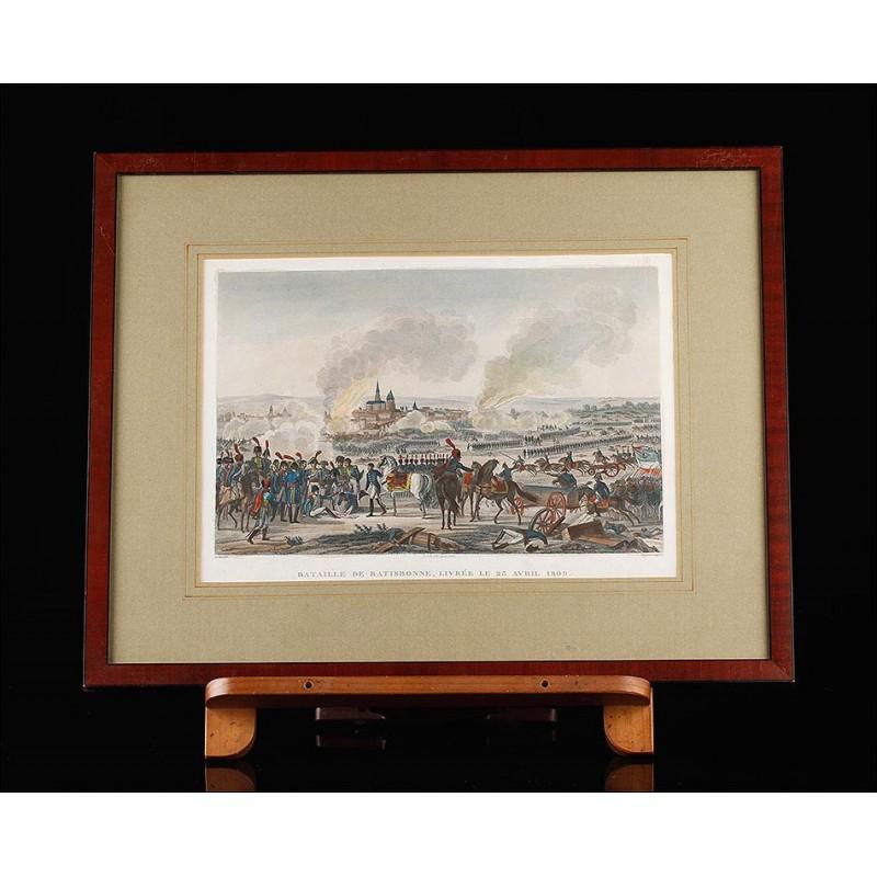 Bello Grabado Antiguo con Escena de la Batalla de Ratisbona. Francia, 1820.