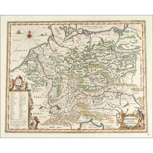 Magnífico Mapa Antiguo de 1657 de Alemania Central, Grabado por Jan Jansson