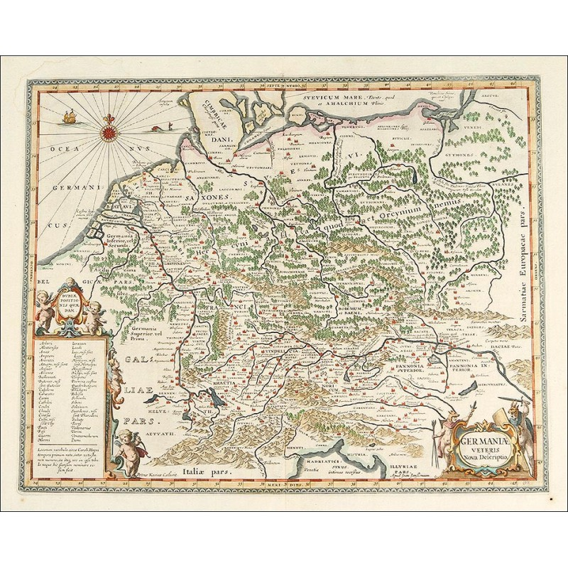 Magnífico Mapa Antiguo de 1657 de Alemania Central, Grabado por Jan ...