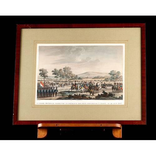 Grabado con Escena de las Maniobras de la Guardia Imperial Francesa en Tilsit. Año 1820