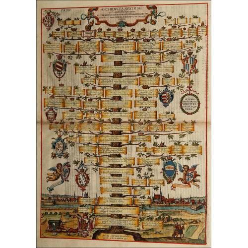 Grabado con el Árbol Genealógico de los Archiduques de Austria. Original del año 1608