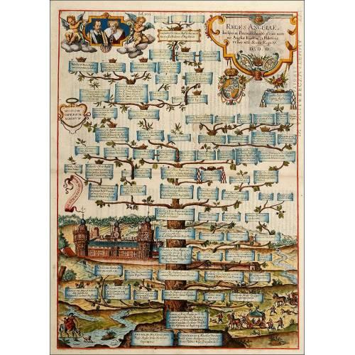 Impresionante Grabado con el Árbol Genealógico de los Reyes de Inglaterra del Año 1608