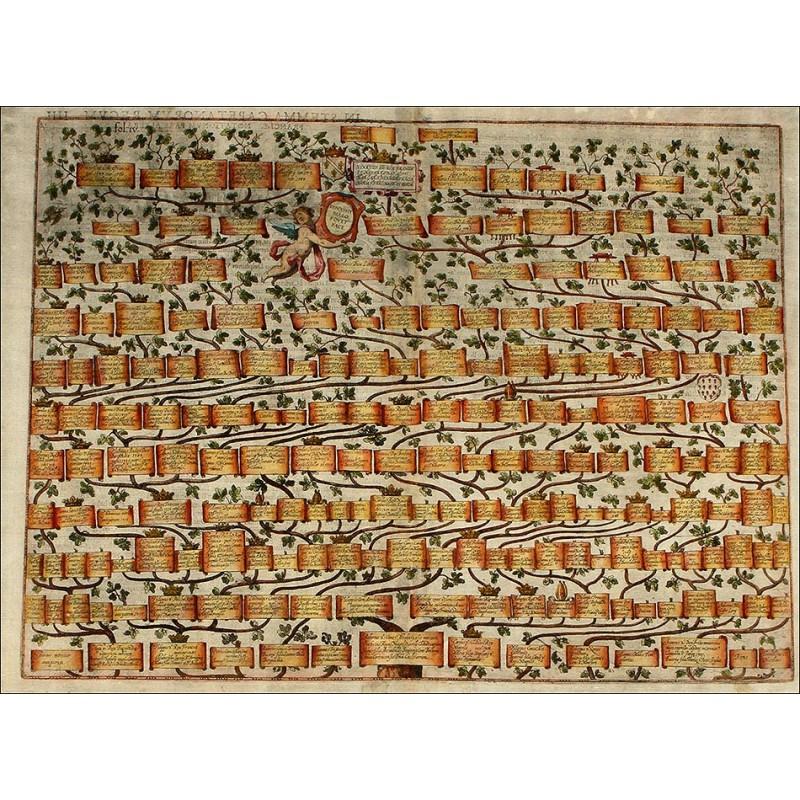 Magnífico Grabado del Árbol Genealógico de la Casa Real Francesa original del año 1608, Color Original