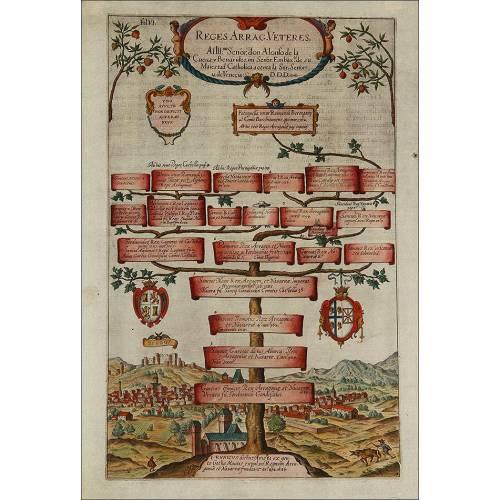 Grabado con el Árbol Genealógico de los Reyes de Aragón. Año 1608. Color Original