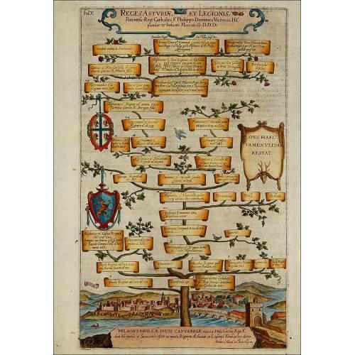 Bello grabado del año 1608 representando la genealogía de los Reyes de Asturias y León. Color Original.