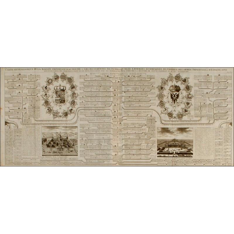 Grabado con el Árbol Genealógico de los Reyes y Emperadores de la Casa de Austria. Francia, 1721