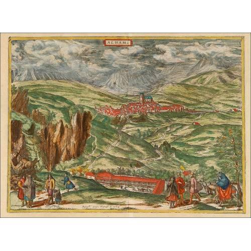 Grabado del año 1564 de Alhama de Granada. Ilustración de George Hoefnagel.