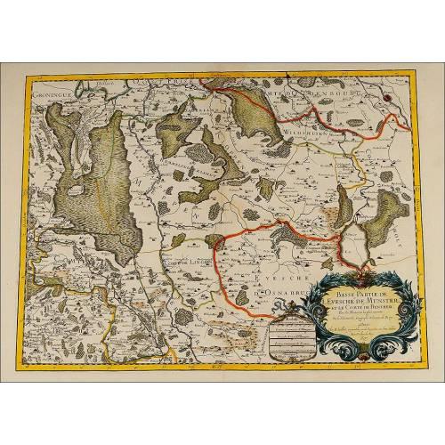 Atractivo Mapa Antiguo del Cartógrafo Nicolas Sanson. Francia, 1693. Perfecto Estado