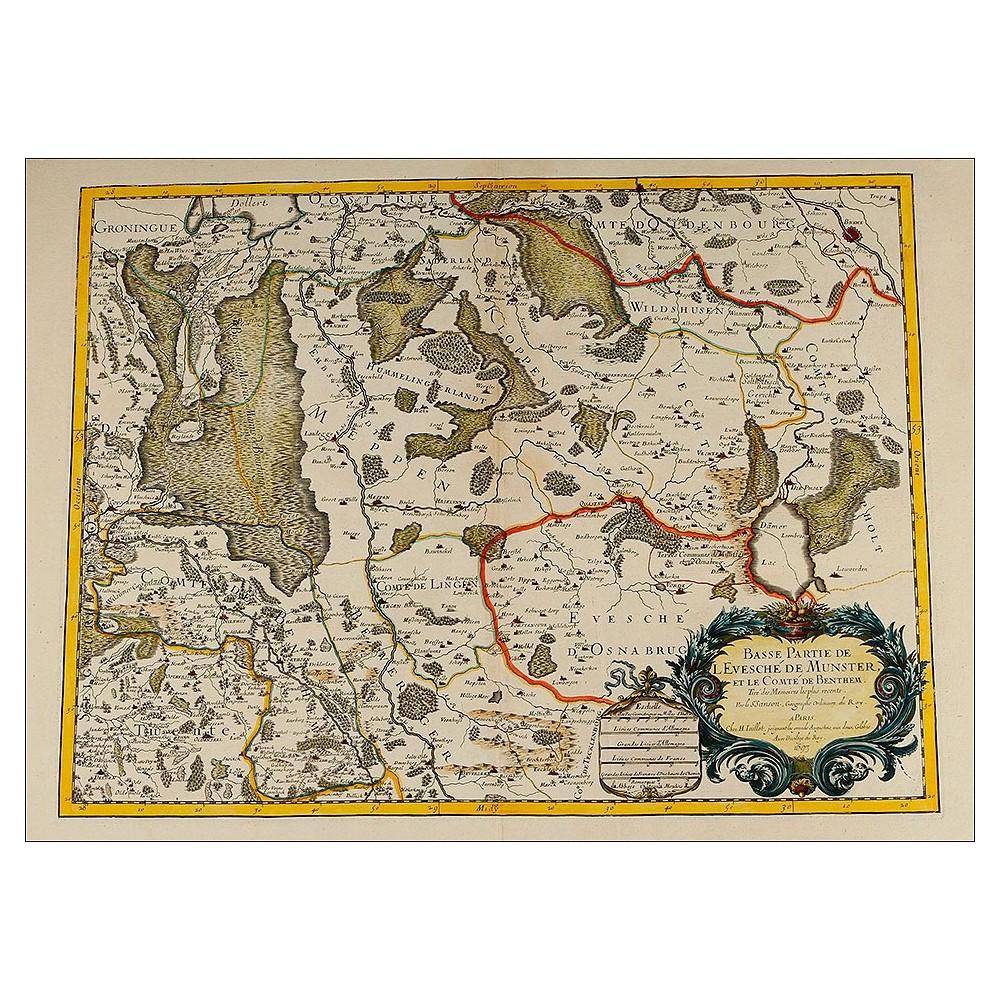 Atractivo Mapa Antiguo del Cartógrafo Nicolas Sanson. Francia, 1693 ...