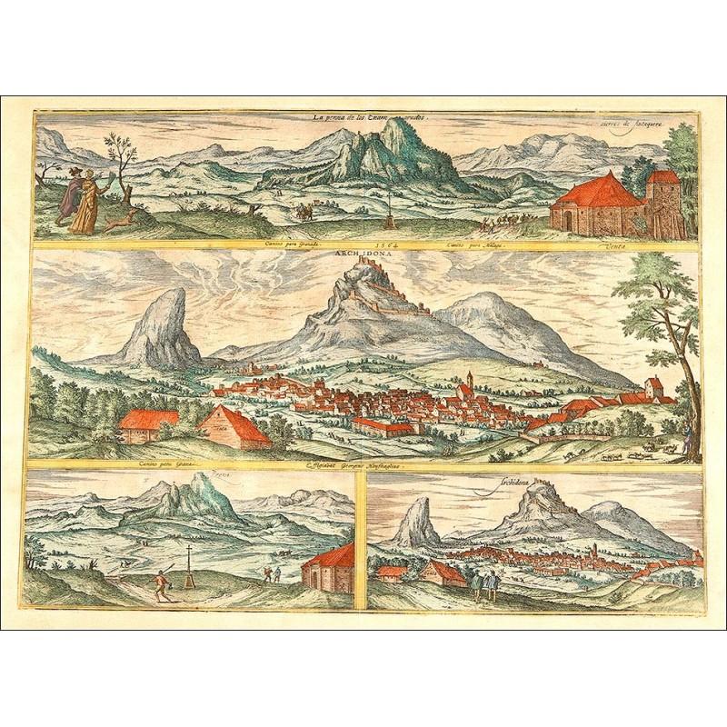 Hermoso Grabado Original de 1564. Antequera, Archidona, La Peña de Los Enamorados.
