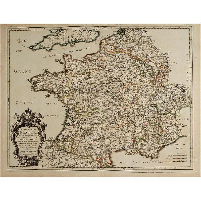 Precioso Mapa, Original de 1665, de Francia. Nicolas Sanson. Muy Bien Conservado
