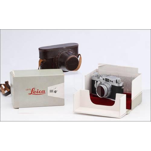 Cámara Leica IIIg del Año 1956. Con Funda de Cuero y en su Caja Original. Estado Magnífico, Funcionando