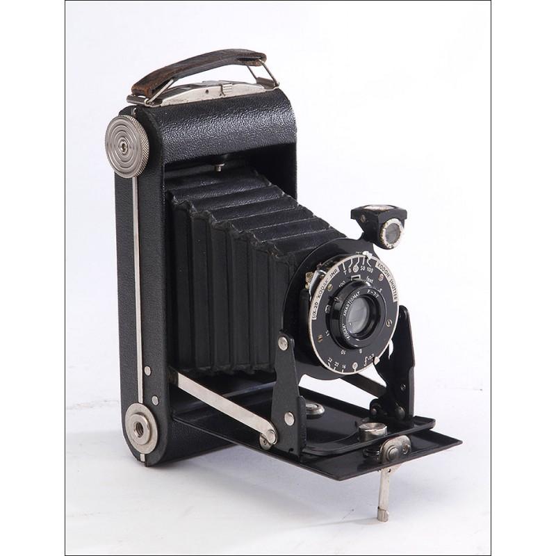 Preciosa Cámara de Fuelle Kodak Junior Six-20 Serie III, Funcionando Bien. EEUU, Años 30
