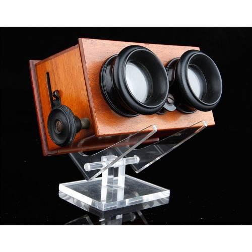 Visor Estereoscópico para Placas de 45 x 107 mm. Francia, Circa 1900. Bien Conservado y en Funcionamiento