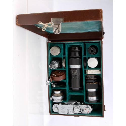 Cámara Leica IIIf en Estuche Original con Accesorios. Año 1954, en Perfectas Condiciones y Funcionando