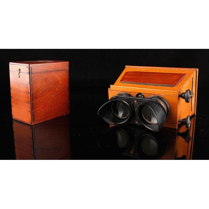 Visor Estereoscópico para Placas de Gran Tamaño (9x15 cm). Sistema de Ajuste de Dos Piñones. Funcionando