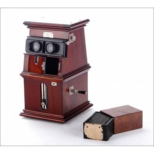 Impresionante Estereoscopio Gaumont Para Placas de 6 x 13 cms en Perfectas Condiciones. Francia, Circa 1910