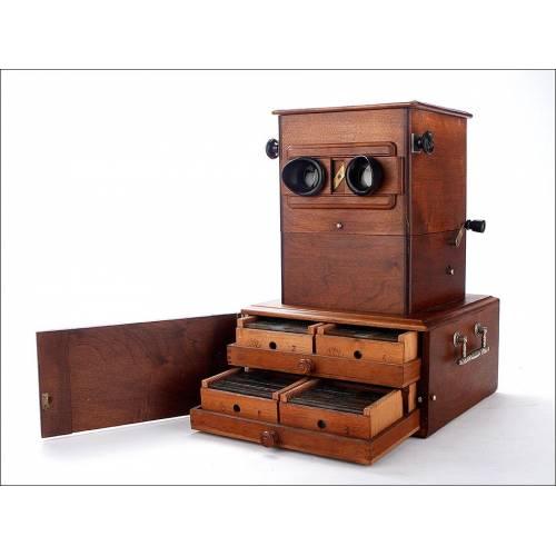 Magnífico Estereoscopio Automático E. Cuny en Estado de Funcionamiento. Francia, 1890