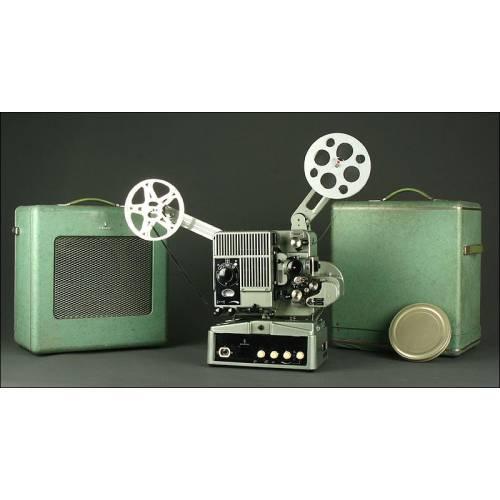 Proyector Vintage de los Años 60 Marca Siemens. Para Películas de 16 mm. Con Altavoz y Funcionando