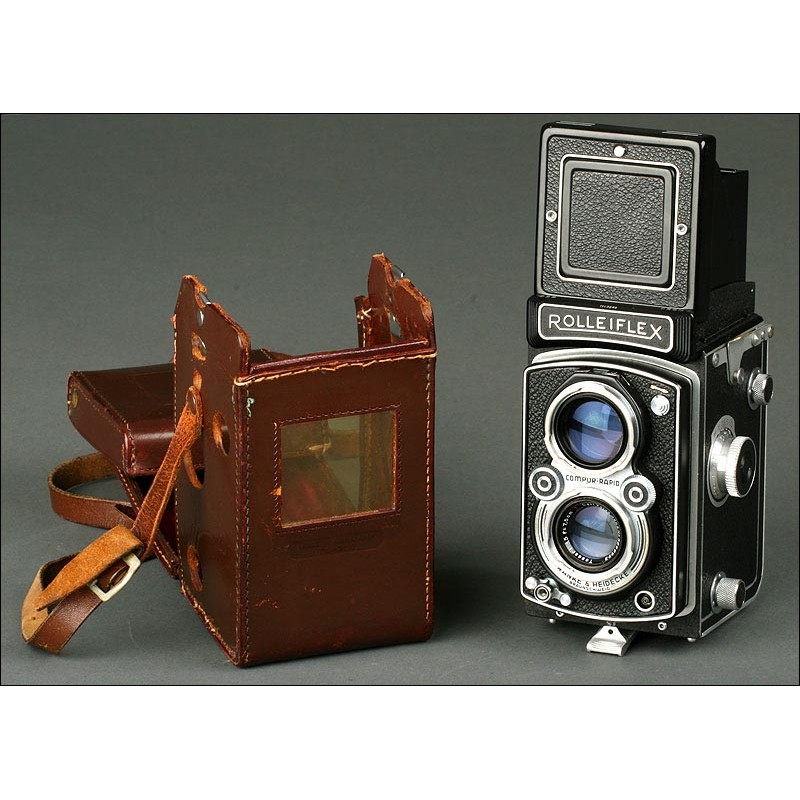 Cámara Fotográfica Rolleiflex 3,5. Año1949. Bien Conservada y Funcionando