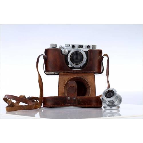 Cámara Leica IIIa Fabricada en 1938 Con Dos Objetivos. Bien Conservada y con Funda Original.