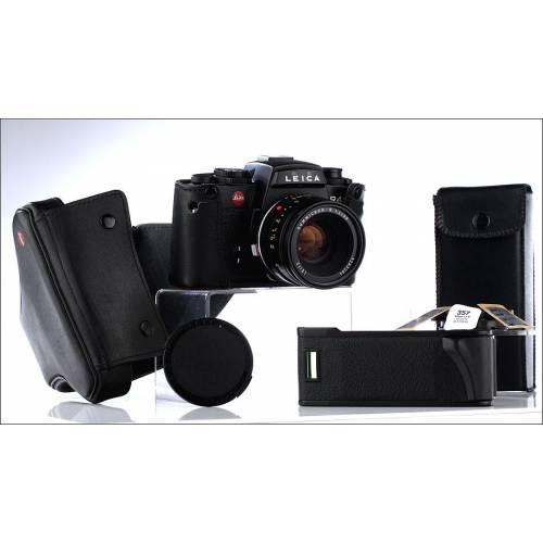 Cámara Leica R4s Fabricada en los Años 80. En Muy Buen Estado y Funcionando. Fundas Originales