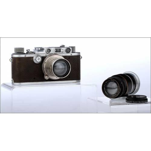 Cámara Leica IIIa Fabricada en 1936-37. En Buen Estado y con Dos Objetivos Originales