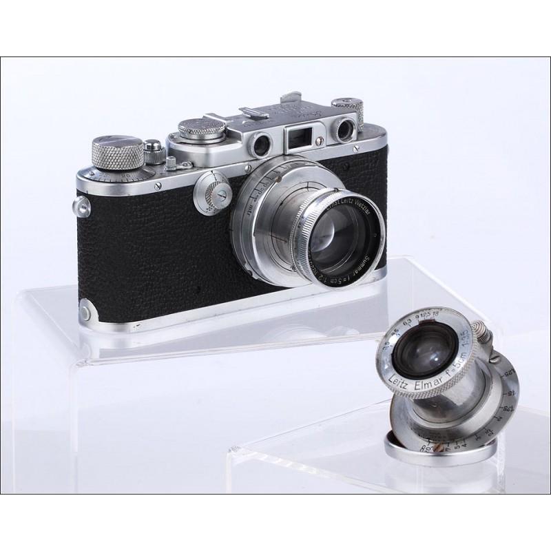 Increíble Cámara Leica IIIa de 1935 Con dos Objetivos y en Funcionamiento