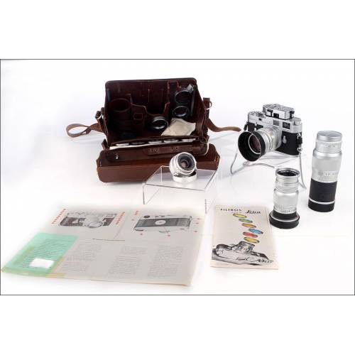 Gran Lote Leica: Leica M3 con 4 Objetivos Accesorios. Años 50-60. En Buen Estado y Funcionando