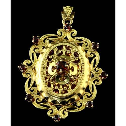 Colgante Portafotos Francés de Oro y Granates, S. XIX. En Muy Buen Estado