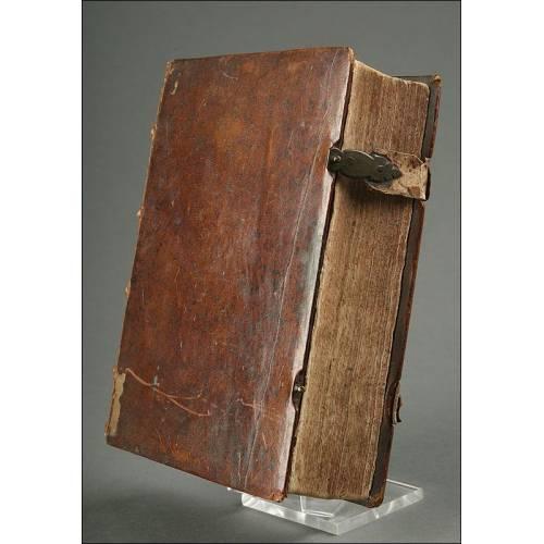 Antiquísimo Libro Alemán Publicado en 1689. Encuadernado en Piel y en Buen Estado