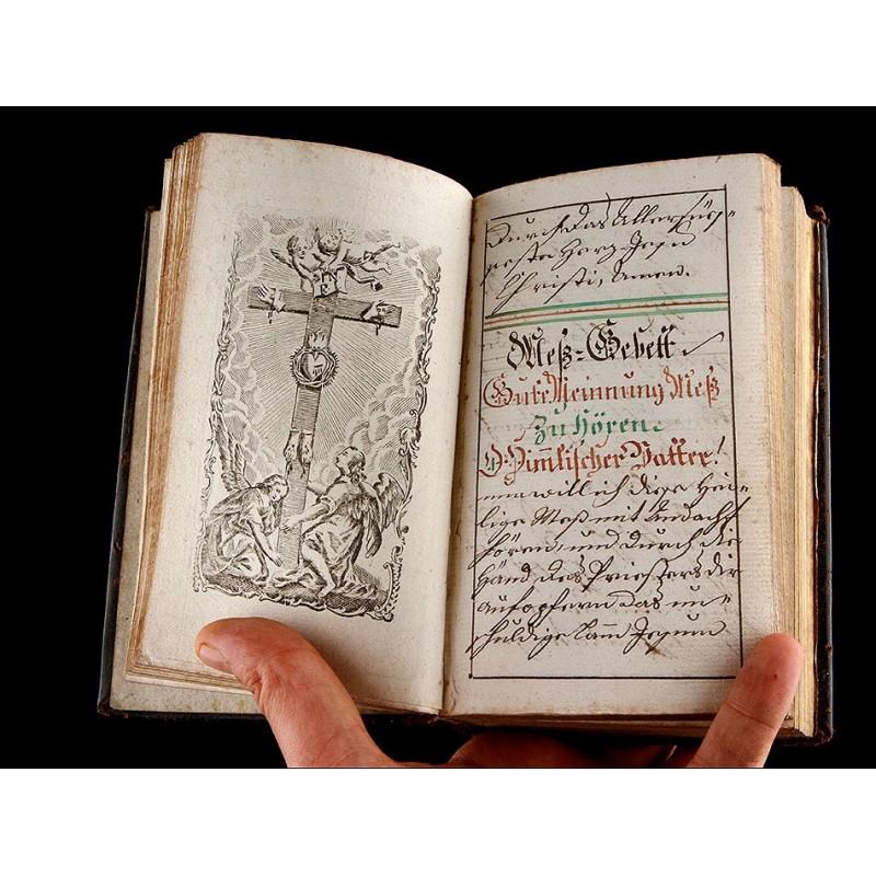 Manuscrito Religioso, Siglo XVIII. Ejemplar Único. Encuadernación de época.