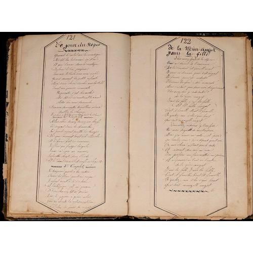 Cancionero Militar Manuscrito. Ejemplar único. Francia. Epoca Napoleón III. En Folio