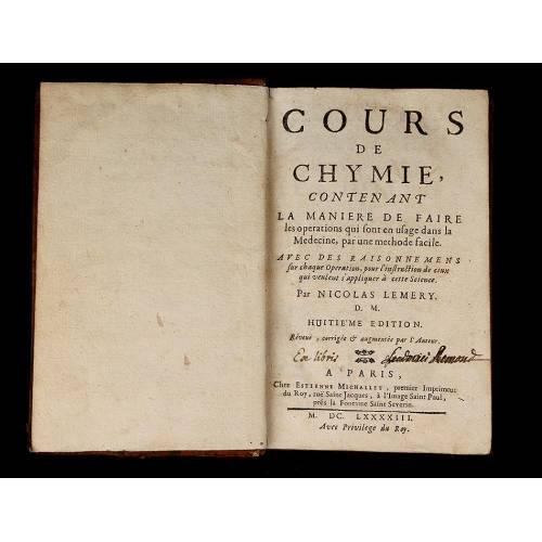 """Química, 1693. """"Cours de Chymie"""" de Nicolas Lemery. Grabados Originales. Buen Estado"""