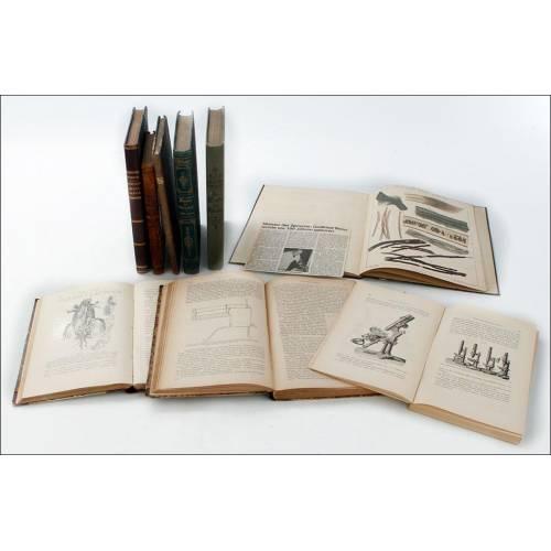 Lote de 9 Libros Antiguos Sobre Microscopía. Alemania, Siglo XIX