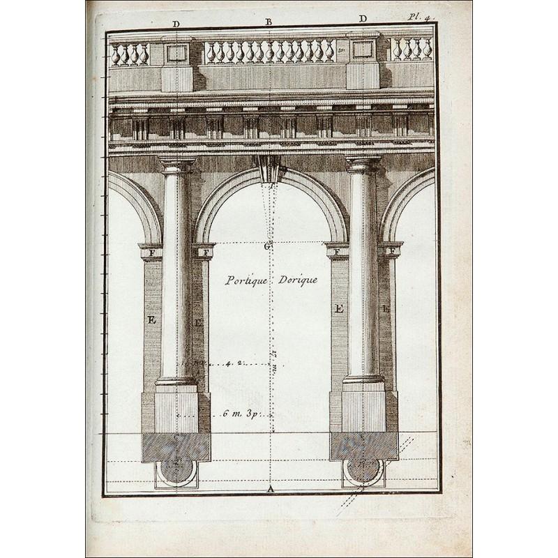 """Arquitectura, 1776. """"Éléments d'Architecture [Troisième Partie]"""". Pierre Panseron. 48 Planchas."""