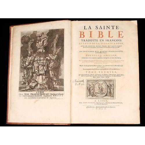 """Biblia, 1703. Escrita en Francés. """"La Sainte Bible traduite en François""""."""