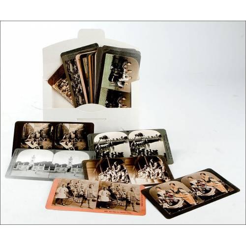 Lote de 36 Reimpresiones Fotos con Imágenes de China de Originales de Principios del S. XX